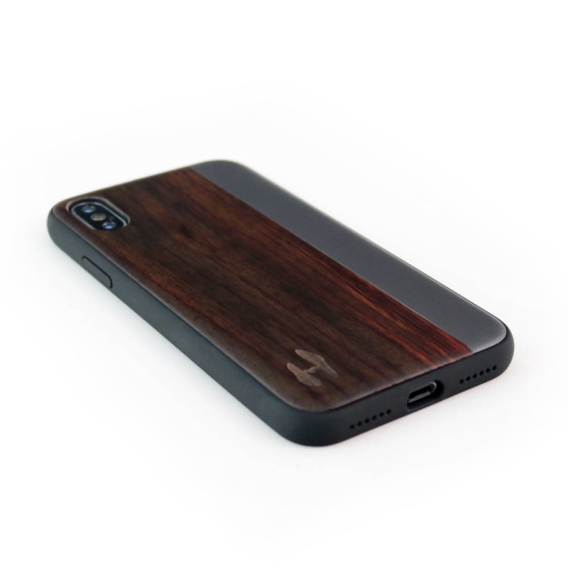 Wooden TPU case, iPhone X / XS - Padouk and grey metal