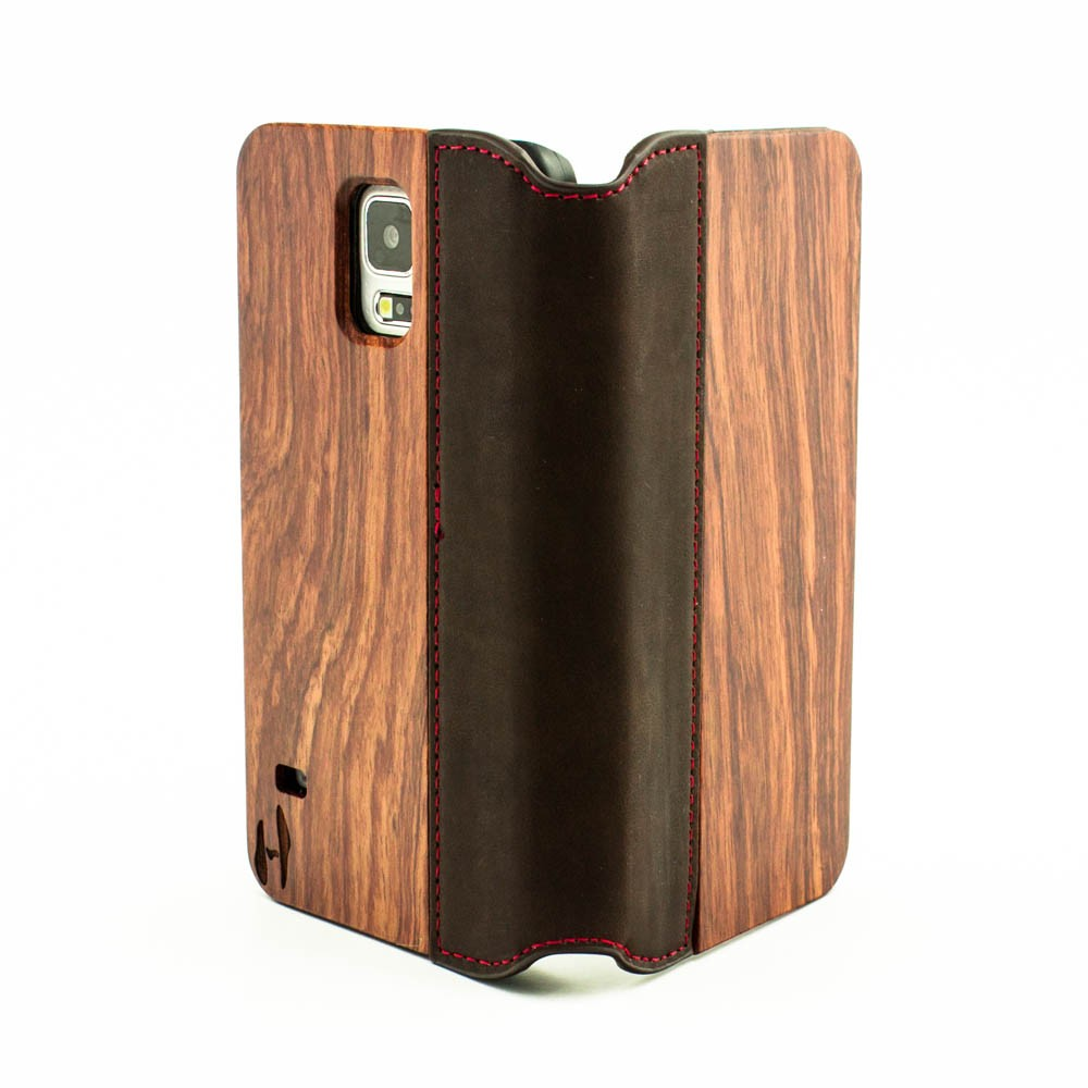 newest d37c2 4ec4b Wooden flip case, Samsung Galaxy S5, rosewood & brown leather