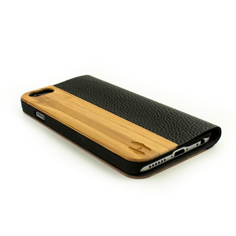 Wood design flip case iphone 6 bamboo and black leather for Design case