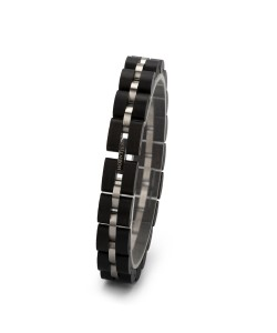 Hoentjen, houten armband - ebben RVS, 12mm