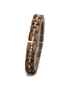 Hoentjen, houten armband - zebrano RVS, 12mm