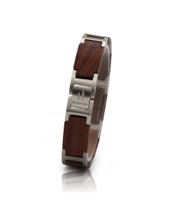 Hoentjen, houten armband - palissander RVS, 13mm (lange schakel)