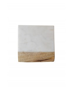 Hoentjen Creatie - 4 Houten/Marmeren Onderzetters, Wit