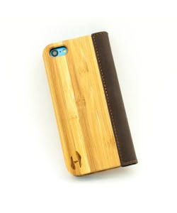 Wooden flip case, iPhone 5C – Bamboo and brown leather
