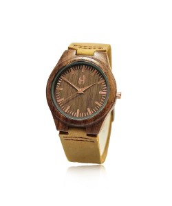 Houten horloge met leren band - Santorini - Hoentjen Creatie
