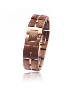 Hoentjen, Wooden bracelet  -  Walnut with rosegold 18mm