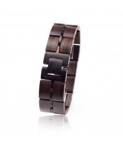 Hoentjen, Wooden Bracelet - Walnutwood And Black Metal 25mm