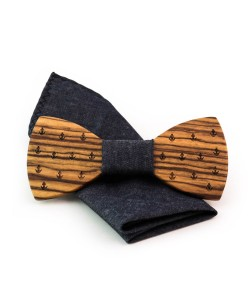 Hoentjen, Wooden bow tie - Zebra jeans + pocket square