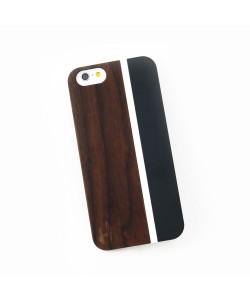 Hoentjen Creatie, Hout met metaal design hoesje iPhone 5 / 5S - kersenhout, aquamarine
