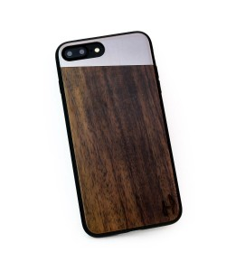Wooden TPU case, iPhone 7 plus - Padouk and grey metal