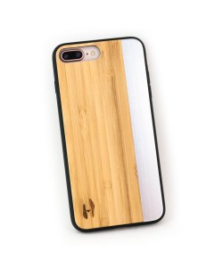 Wooden TPU case, iPhone 7 plus - Bamboo and grey metal