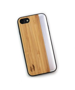 Wooden TPU case, iPhone 7 - Bamboo and grey metal