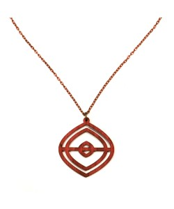 "Wooden mustache necklace ""connoisseur"" (pink & red)"
