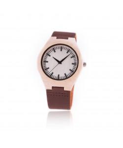 Houten horloge met leren band - Sardinie - Hoentjen Creatie