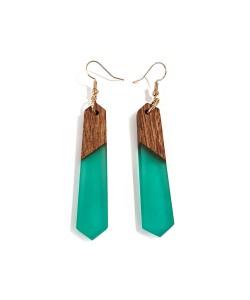houten oorbellen met epoxy, Noten hout en turquoise