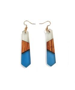 houten oorbellen met epoxy, Noten hout en blauw
