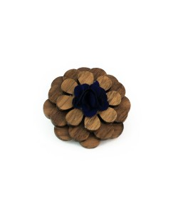 Hoentjen, houten Revers bloem / broche blue