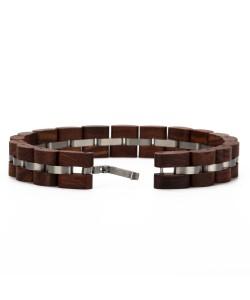 Hoentjen, Wooden bracelet - rosewood stainless steel, 12mm