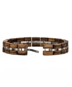 Hoentjen, Wooden bracelet - zebrano stainless steel, 12mm
