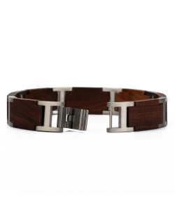 Hoentjen, wooden bracelet - Rosewood stainless steel, 13mm (long chain)