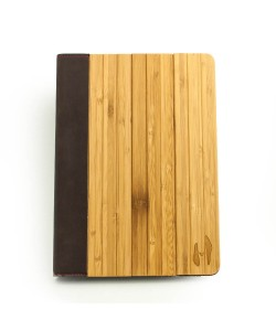 Wooden iPad AIR 2 bookcase - bamboo & brown leather