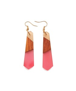 Wooden Earrings With Blue Epoxy