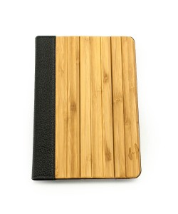 Wooden iPad mini bookcase - bamboo & black leather