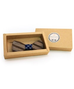 Hoentjen, Wooden bow tie - Walnut / dark blue