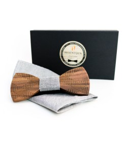 Hoentjen, Wooden bow tie - Walnut / grey + pocket square