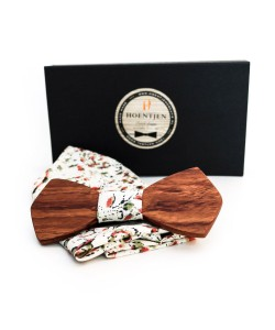 Hoentjen, Wooden bow tie - Rose wood / blended pocket square