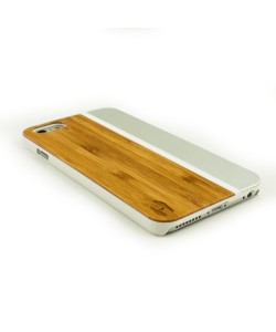 iPhone 6+ hardcase design: Bamboo with white plastic and aluminum silver