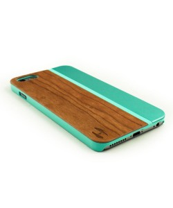 Wood and metal case iPhone 6 Plus / 6s Plus, cherry & aquamarine