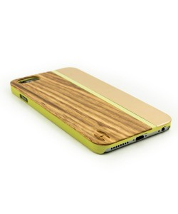 Wood with metal design hardcase for the iPhone 6 Plus / 6s Plus - Zebrano wood, champange aluminum