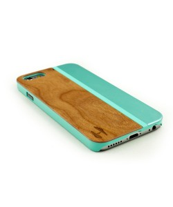 Wood and metal case iPhone 6 - cherry & aquamarine