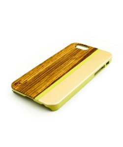 Wood with metal design case for the iPhone 6:  Zebrano wood, champange aluminum