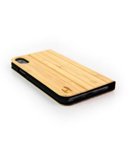 Wood design flip case, iPhone X / XS - Bamboo