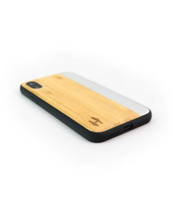 Wooden TPU case, iPhone X /  XS - Bamboo and grey metal