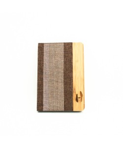 Wooden iPad mini bookcase - bamboo and fabric
