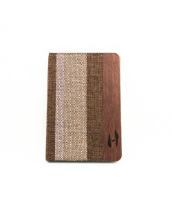 Wooden iPad mini bookcase - rosewood and fabric