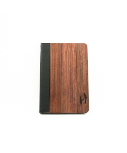 Wooden iPad mini bookcase - rosewood and black leather
