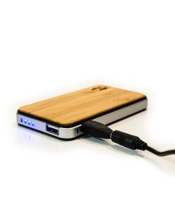 Wood design power bank 2700 solar charger for iPhone, iPad or Samsung