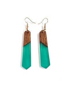 Wooden Earring With Epoxy Turquoise
